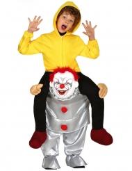 Disfraz niño sobre hombros de payaso psicópata niño