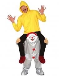 Disfraz hombre sobre hombros de payaso psicópata adulto