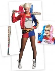 Pack disfraz y accesorios Harley Quinn mujer