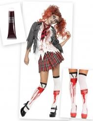 Pack disfraz y accesorio zombie colegiala mujer