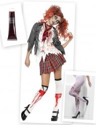 Kit disfraz y accesorio zombie colegiala mujer