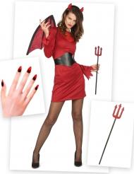 Pack disfraz y accesorios diablesa chic mujer