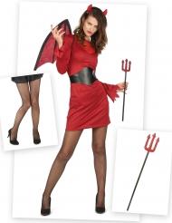 Kit disfraz y accesorios diablesa chic mujer