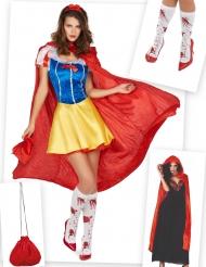 Disfraz y accesorios de princesa de cuentos ensangrentada mujer