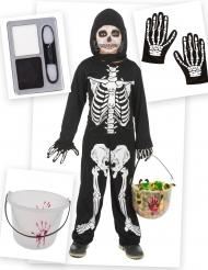 Kit disfraz y accesorios de esqueleto niño