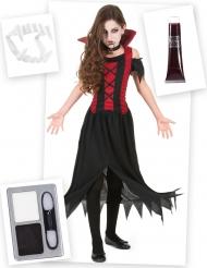 Kit disfraz y accesorios de vampiro niña