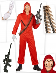 Kit disfraz ladrón rojo completo adulto