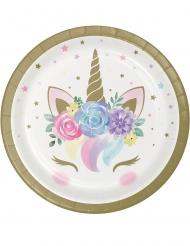 8 Platos pequeños de cartón unicornio mágico blanco 18 cm