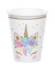 8 Vasos de cartón unicornio mágico blanco 256 ml