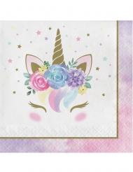 16 Servilletas de papel unicornio mágico blanco 33 x 33 cm