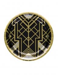 8 Platos de cartón años 20 negro y dorado 23 cm