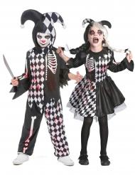 Disfraz pareja arlequín sangriento niños
