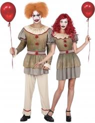 Disfraz de pareja payaso locos adulto