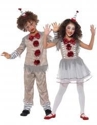 Disfraz de pareja payaso vintage niños