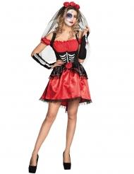Disfraz de esqueleto rojo para mujer