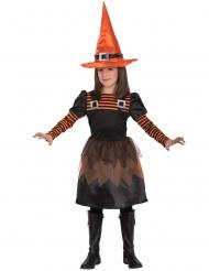 Disfraz de bruja naranja y negro niña