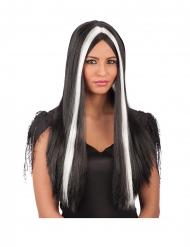 Peluca larga negro y blanco