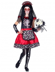 Disfraz Día de los muertos negro y rojo niña