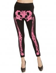 Legging esqueleto rosa fosforito mujer
