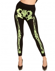 Legging esqueleto verde fosforito mujer