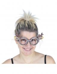 Gafas de reno con brillantinas adulto