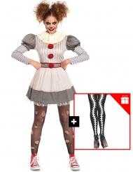 Disfraz payaso terrorífico mujer con medias de regalo
