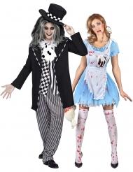Disfraz pareja Alicia y Sombrerero loco gótico adulto