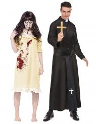 Disfraz de pareja niña exorcista y padre adultos