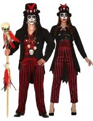 Disfraz parejas brujos vudú a rayas adulto