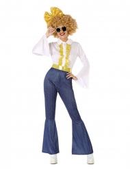 Disfraz disco efecto vaquero y dorado mujer