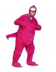 Disfraz de dinosaurio amistoso rosa adulto