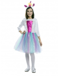 Disfraz vestido con capucha unicornio niña