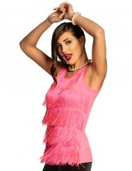 Camiseta con flecos rosa mujer