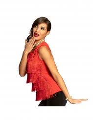 Camiseta con flecos rojo mujer