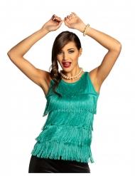Camiseta con flecos turquesa mujer