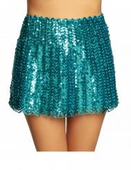 Falda con lentejuelas turquesa mujer