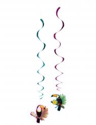 2 Decoraciones espiral para colgar tucán 85 cm