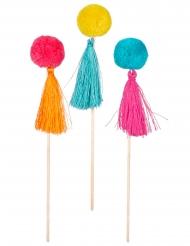 6 Pinchos de madera con pompones de colores 16 cm