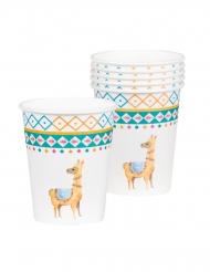 6 Vasos de cartón lama blanca 25 cl