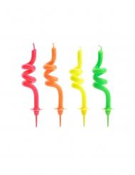 4 Velas de cumpleaños espirales multicolores 8 cm