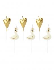 6 Velas con pincho cisne y corazones blancos y dorados
