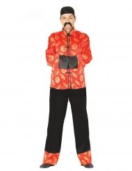 Disfraz chino rojo con dorado hombre
