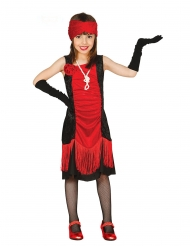 Disfraz de cabaré rojo y negro niña