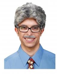 Peluca y bigote gris adulto