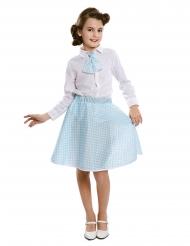 Falda con corbatilla pin-up azul cielo niña