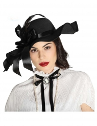 Sombrero negro con plumas mujer