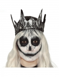 Corona reina malvada látex plateada adulto