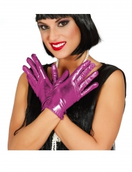 Guantes metálicos fucsia 22 cm mujer