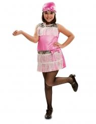 Disfraz con cofia charlestón rosa niña