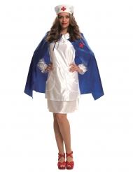 Disfraz enfermera con capa y cofia mujer